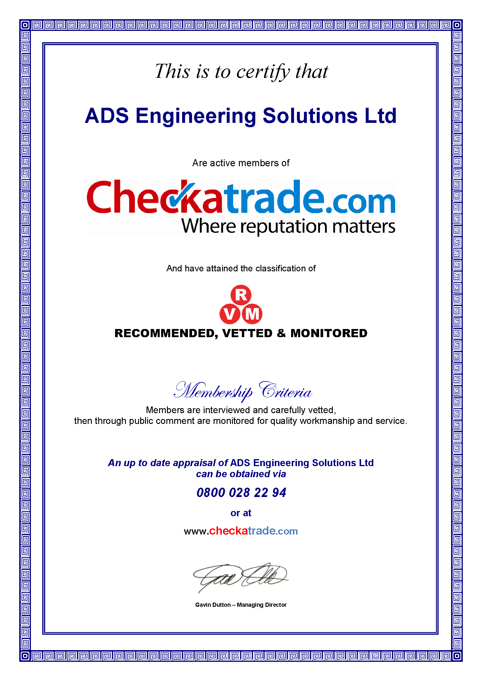 Checkatrade certificate for ADS Plumbing, Bath.